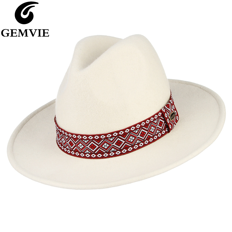 GEMVIE Vintage 100 Wool Wide Brim White Fedora Hat For Women Felt Hat With Red Band Jazz Cap New Fashion Man Panama Hat in Men 39 s Fedoras from Apparel Accessories