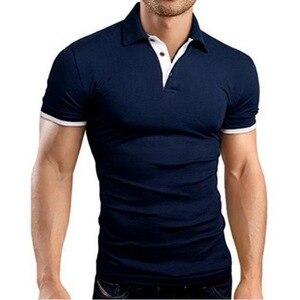 Litthing عارضة رجل قميص بولو 2019 الصيف قصيرة الأكمام بدوره إلى أسفل طوق ضئيلة قمم عارضة تنفس بلون قميص رسمي للأعمال