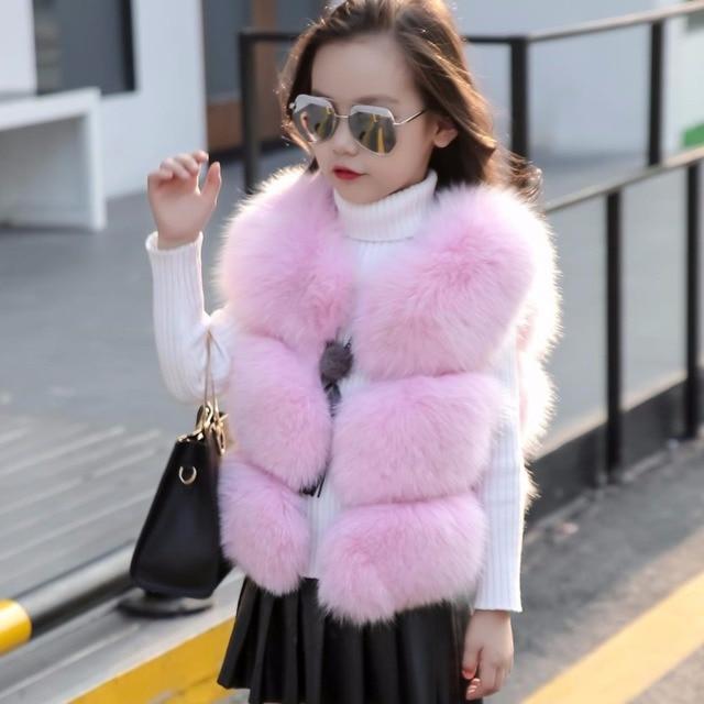 048804b2f Clobee 2017 Autumn Winter Baby Girls Faux Fur Waistcoat Jacket ...