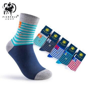 New Fashion Socks 5 Pairs/lot PIER POLO Brand Socks Men Cotton Socks Long Stripe Men's Embroidery Colorful Dress Socks