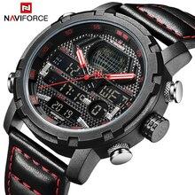 Новые мужские часы NAVIFORCE, Лидирующий бренд, роскошные спортивные часы для мужчин, кожаный ремешок, 30 м, водонепроницаемые наручные часы с дисплеем