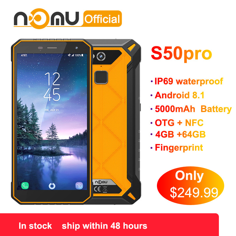 US $249 99 30% OFF|Nomu S50 Pro 2019 New Smartphone Android 8 1 IP69  Waterproof Shockproof Mobile Phones 5 72