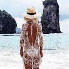 Sexy Lace Crochet Tassel Bikini Swimwear Cover Up Women Summer Short Sleeve Loose Cotton Linen Blouse Tops