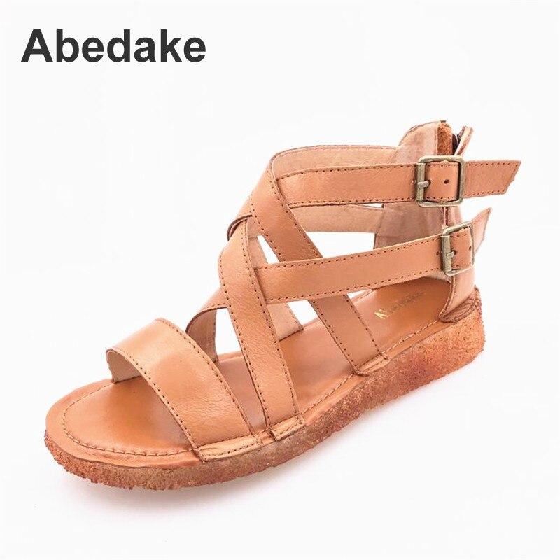 Здесь продается  Abedake women gladiator sandals Top genuine leather sandals woman flat shoes handmade soft casual antiskid cow leather sandals  Обувь
