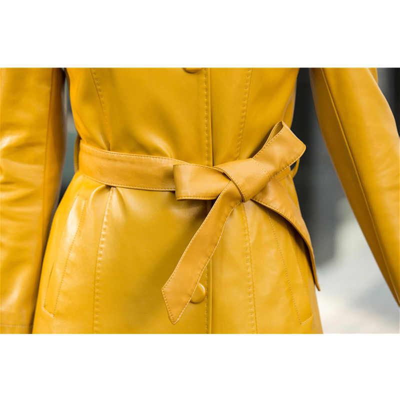 b69eb506adf16 ... 2018 Autumn Winter Soft Faux Leather jacket Female Single Breasted Plus  Size Women Long PU Leather ...