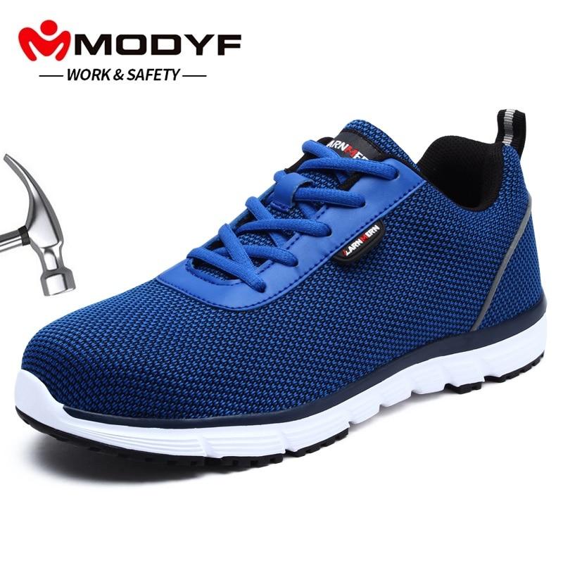 MODYF Men Steel Toe Safety Work Shoes For Men Flyknit Lightweight Breathable Anti smashing SRC Non