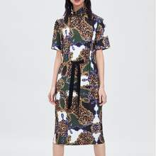 2019 Za* Women Leopad Print Shirt Flowing Dress Za Loose Patchwork Print Dresses Women Clothing Vestidos(China)