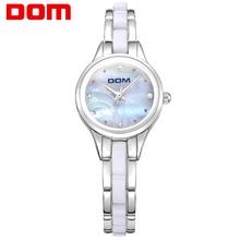 DOM Women Ceramic Waterproof Watches Montre Luxury Fashion Watch Quartz Women Fashion Casual Stainless Steel Gold Watches T-588
