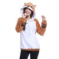 Giraffita Cartoon Fox hoodies Women Hoodies Patchwork Rabbit Ear hooded Sweatshirts Female Lady Hoodie Coat plus size