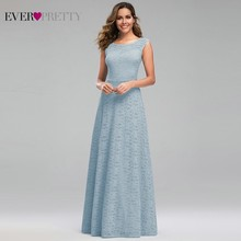 Ever Pretty Blue Lace Bridesmaid Dresses A-Line O-Neck Sleeveless Women Formal Dresses For Wedding Party Robe Longue Dentelle