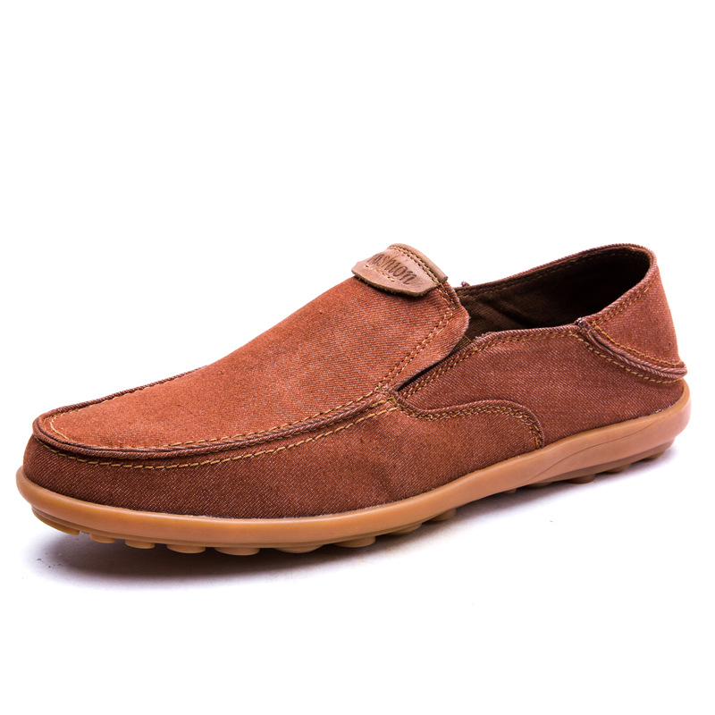 Moccasins Rubber-Shoes Massage Men's Canvas Breathable Round Spring/autumn Patchwork