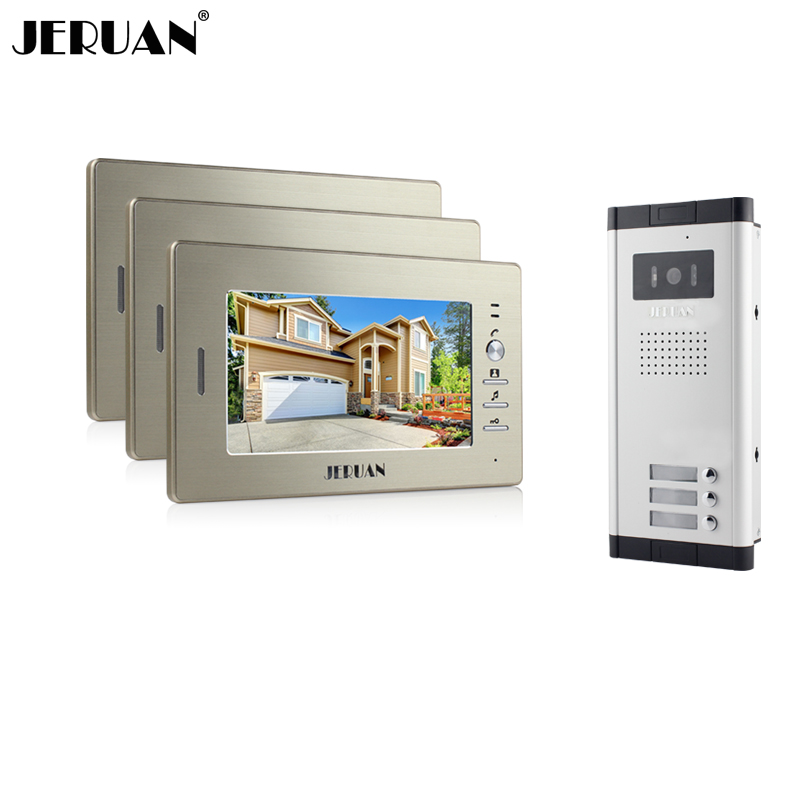 JERUAN Brand New Apartment Intercom System 3 Monitor 7Color Video Door Phone intercom System for 3 house In Stock FREE SHIPPING my apartment