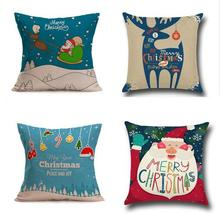 1Pc Pillow Case Christmas Decorative Linen Pillowcase for Home Santa Clause Elk Snowman Pillow Cover Xmas New Year elk santa clause pullover christmas hoodie