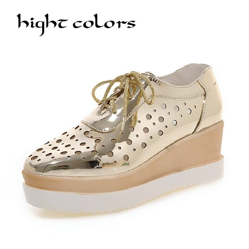 New Gold+Sliver+Blue+Pink Women's Platform Wedges Sandals Fashion Lacing Cutout Breathable Shoes Woman Casual US 4.5~10.5 phyanic gold silver wedges sandals 2017 new platform casual shoes woman summer buckle creepers bling flats shoes phy4040
