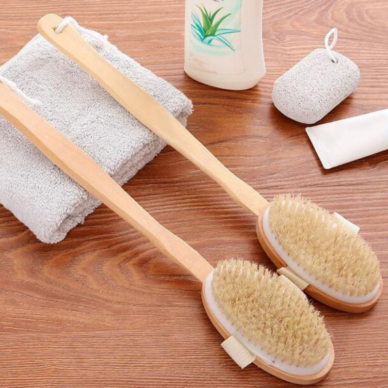 Personal Beauty Bathing Accessories 2 In 1 Shower Brush-Glove and Wooden Long Ha