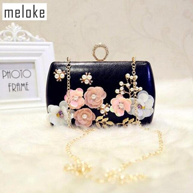 fadd8a0fa Meloke 2018 de lujo hecho a mano embrague carteras flores cena de boda bolsas  para damas