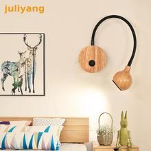 Современный скандинавский деревянный 5 Вт светодиодный настенный светильник с выключателем, прикроватный светильник для чтения, для спальни, регулировка