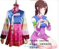 DVA Costume Hot Game OW Dress Adult Woman Silk Korean Design Dva Dressed Cosplay Dva Hanbok