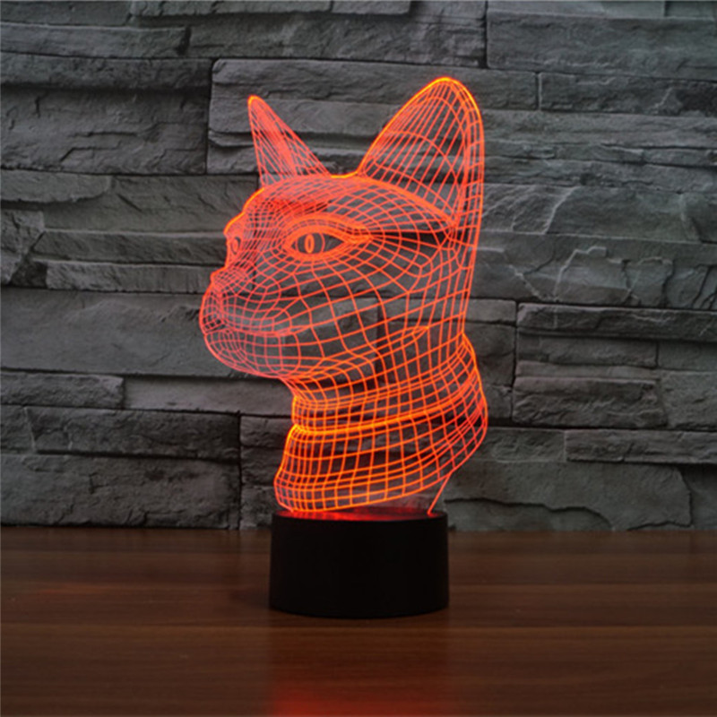 AUCD NEW LED 7 Color Gradient Cute Animal Side cat Night Light Home Decoration Bedroom Reading Table Lamp Holiday Gift-287