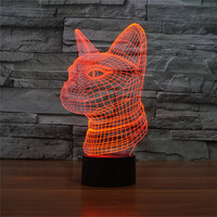 AUCD NEW LED 7 Color Gradient Cute Animal Side Cat Night Light Home Decoration Bedroom Reading