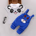 Summer Cartoon Bear Baby Overalls infant Cotton Stripe Short Sleeve T-Shirt 2Pcs Children Clothing Set Leisure Boy Girl Toddler