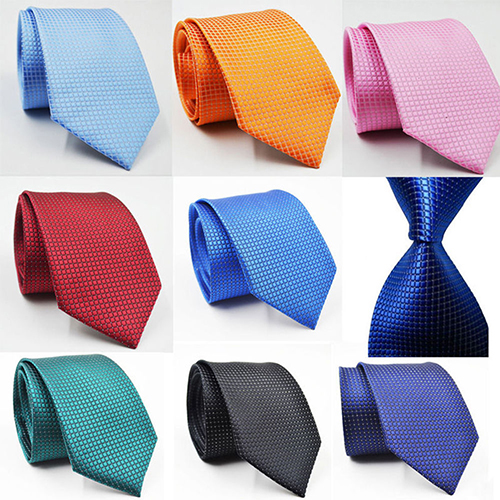 Classic Men Small Plaid Solid Color Party Business Wedding Tie Necktie Xmas Gift