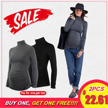 Maternity Clothes Clothing Turtleneck tops T shirt pregnant clothes women Tees pregnancy solid tshirt winter