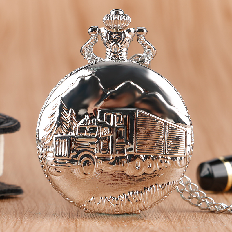 Luxury Silver Train Front Locomotive Lorry Carving Pocket Watch Simple Truck Car Pattern Slim Necklace Chain Unisex Quartz Clock