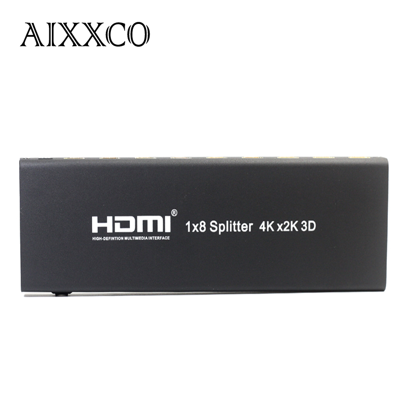 AIXXCO 3D 2k 4K HDMI Splitter 1x8 1080P Amplifier HDMI Switch 1 in 8 Out HDMI Converter adapter For HDTV hdmi v1 4 1 in 8 out hdmi splitter support 4k 3d 1080p