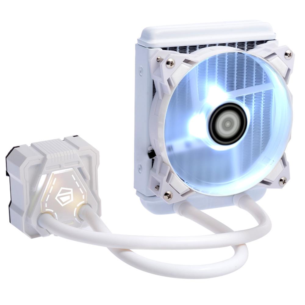 Prix pour Id-icekimo 120 w pur blanc aio de refroidissement refroidisseur d'eau avec led d'éclairage, 120mm radiateur, 120mm pwm ventilateur, à base de cuivre, pour intel et amd