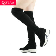 QUTAA Women Shoes Knee-Boots Stretch-Fabrics Increasing Round-Toe Over Autumn Winter