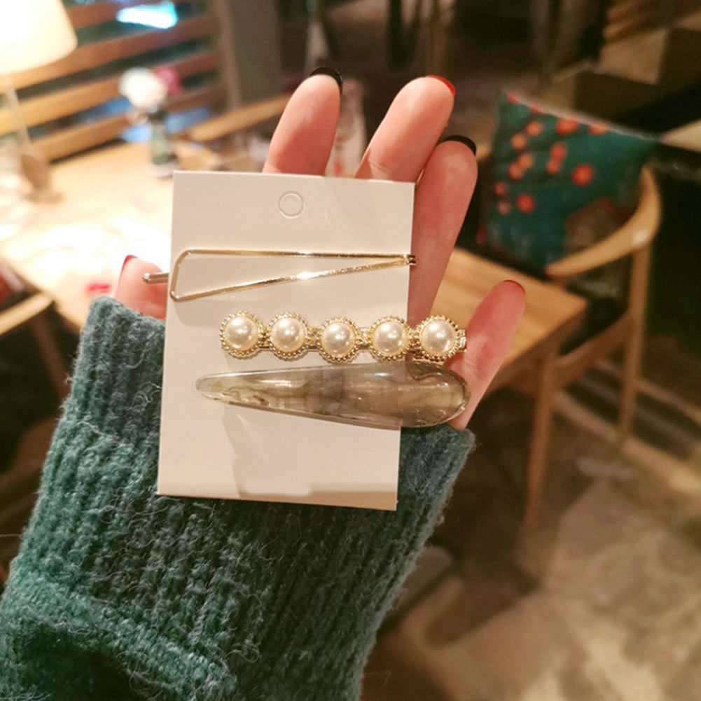 2019 new 3pcs set Fashion Women man Metal Pearl Marble Hair Clip Combination Barrette Pearls Hairpin Hair Styling Accessories