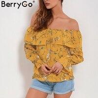 BerryGo Sexy Off Shoulder Flower Print Blouse Women Ruffle Long Sleeve Blouse Shirt Casual Summer Blouse