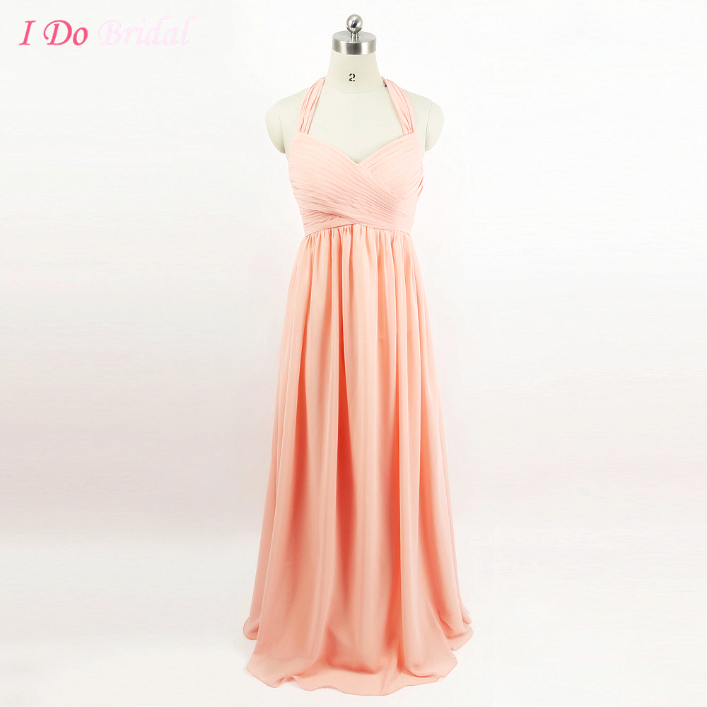 Online get cheap long coral maternity dress aliexpress peach coral colored maternity bridesmaid dresses long halter for pregnant women empire formal wedding guest dress ombrellifo Image collections