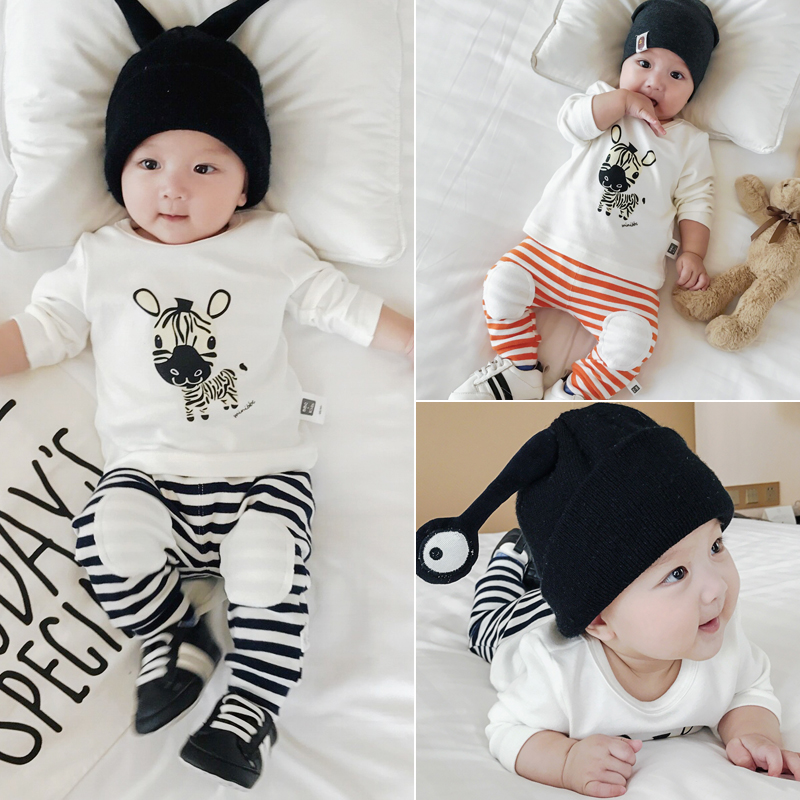 Baby Fall Clothes for Boy Girls Cotton Cute Zebra Striped Bodysuit Long Coat T Shirts Pants