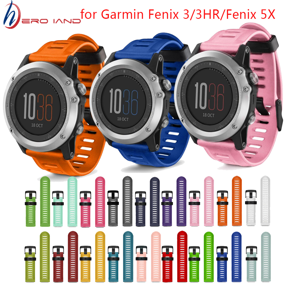 Hot Replacement Silicone Watchbands Sport wrist Strap for Garmin Fenix 3 /Fenix HR GPS Watch With Tools 5X