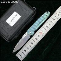 Lovocoo Valet оси 485 Дамаск узор Сталь Титан ручкой складной кемпинг карман выживания Охота EDC инструмент Кухня нож