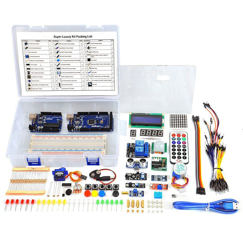 Starter Kit For Arduino UNO R3 &Mega2560 Board ESP8266 for LCD Servo Motor Relay funduino 3d0073 fr4 expansion board 4 stepper motor drives funduino uno r3 board kit for arduino