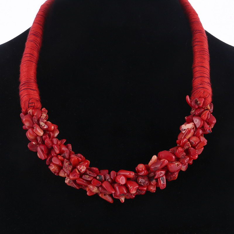 Brilliant Red Natural Stone Pendant Choker Necklace Delicate Coral Design Rope Necklace For Women