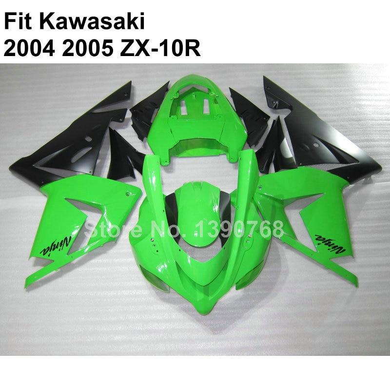green black motorcycle fairing kit for Kawasaki Ninja ZX10R 2004 2005 fairings ZX 10R 04 05