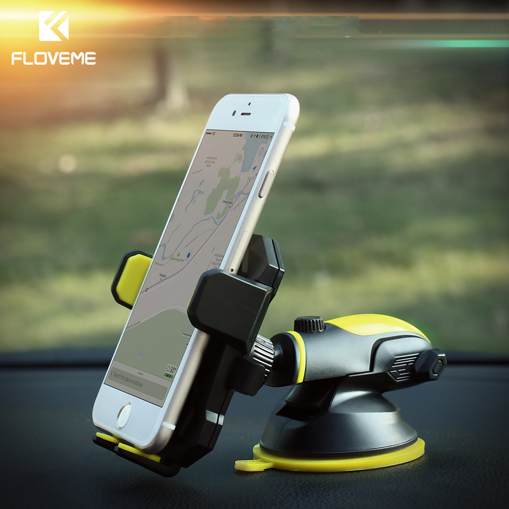 FLOVEME 360 Rotate Car Holder Adjustable Mobile Phone Stand For iPhone 5S Samsung S8 Xiaomi Phone Holder in Car Support Movil