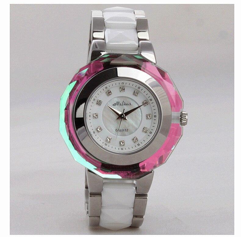 Mode multi face brillant cristal Montre classique MELISSA femmes en céramique Montre bracelet à la mode MELISSA Relogios Montre Femme F6285