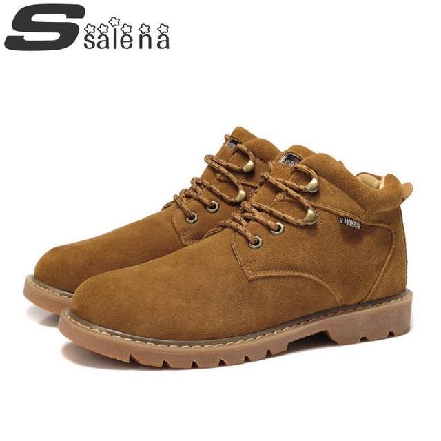 Botas de los hombres Botas de Cuero Genuino Estilo Británico Nuevos Hombres de La Manera Y Zapatos Al Aire Libre de Herramientas Otoño Invierno Boot A206