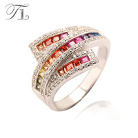 A N Simulated Diamonds Fashion Acessories 925 Sterling Silver Ring Full With Austria Crystal Gemstone Antique