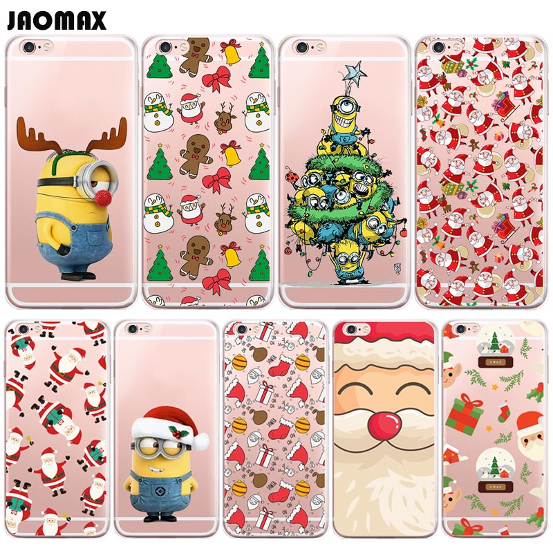 Iphone 6 Plus Christmas Case.Us 1 61 19 Off Cute Funny Santa Claus Merry Christmas Case For Iphone Xs 8 6 6s Plus X 5 5s Se 7 Plus Transparent Silicone Tpu Phone Back Cove In