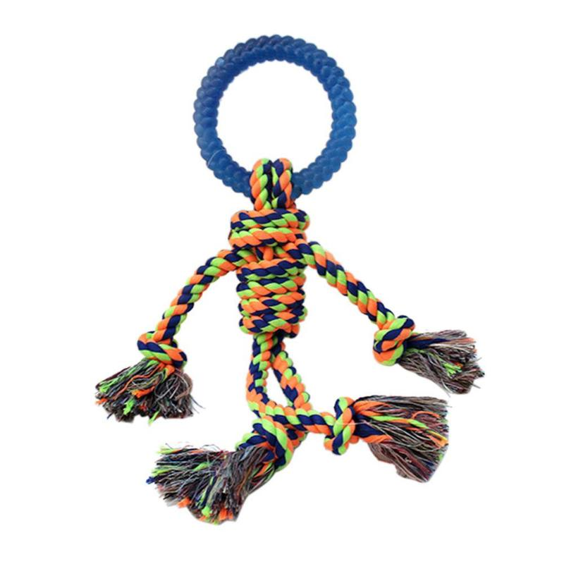 1 pcs Pet Dog Chews Toys Cotton Rope Knot Weaving Toys Pet Candy Man Dog Hand Knit Knot Games Toys For Dog Teeth Cleaning