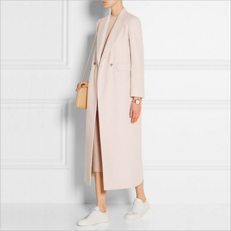 Brands Fashion New High-quality Temperament Lapel Women Outerwear 2019 Autumn And Winter Beige Long Woolen Coat Jacket Overcoat