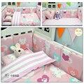 100% do bebê do algodão conjunto de berço bedding 3 pcs folha de cama colcha fronha bear cat fox preto mais branco padrão para meninos das meninas bedding