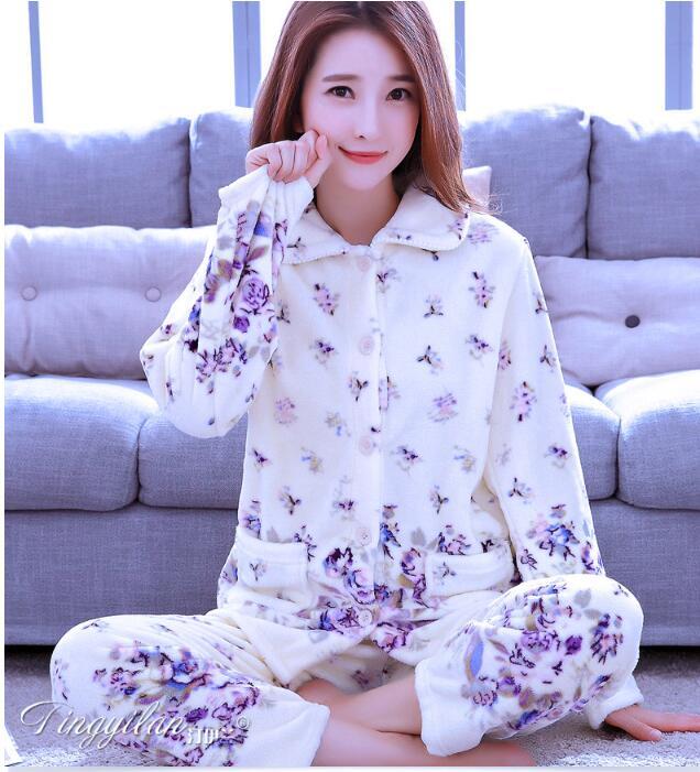 Women Sleepwear Pyjama Suit Thick Warm Cute Sleepingwear Girls Coral Fleece Pajamas For Women Flannel Homewear D-2100