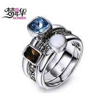 DC1989 Classical Vintage Rings For Women Men Three Colors Synthetic Cubic Zirconia Rhodium Plated Anti Black
